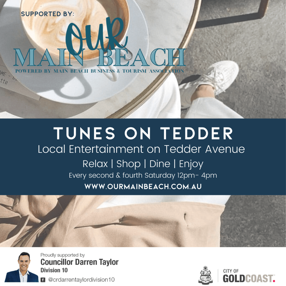 Tunes On Tedder poster for Main Beach music days
